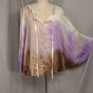 Shimmery Tie Dye Blouse CoverUp Letarte Boho Top